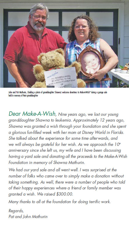Mere & Pere were mentioned in one of the newsletters sent out by the Children's Wish Foundation.